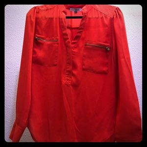 Coral color sheer button blouse